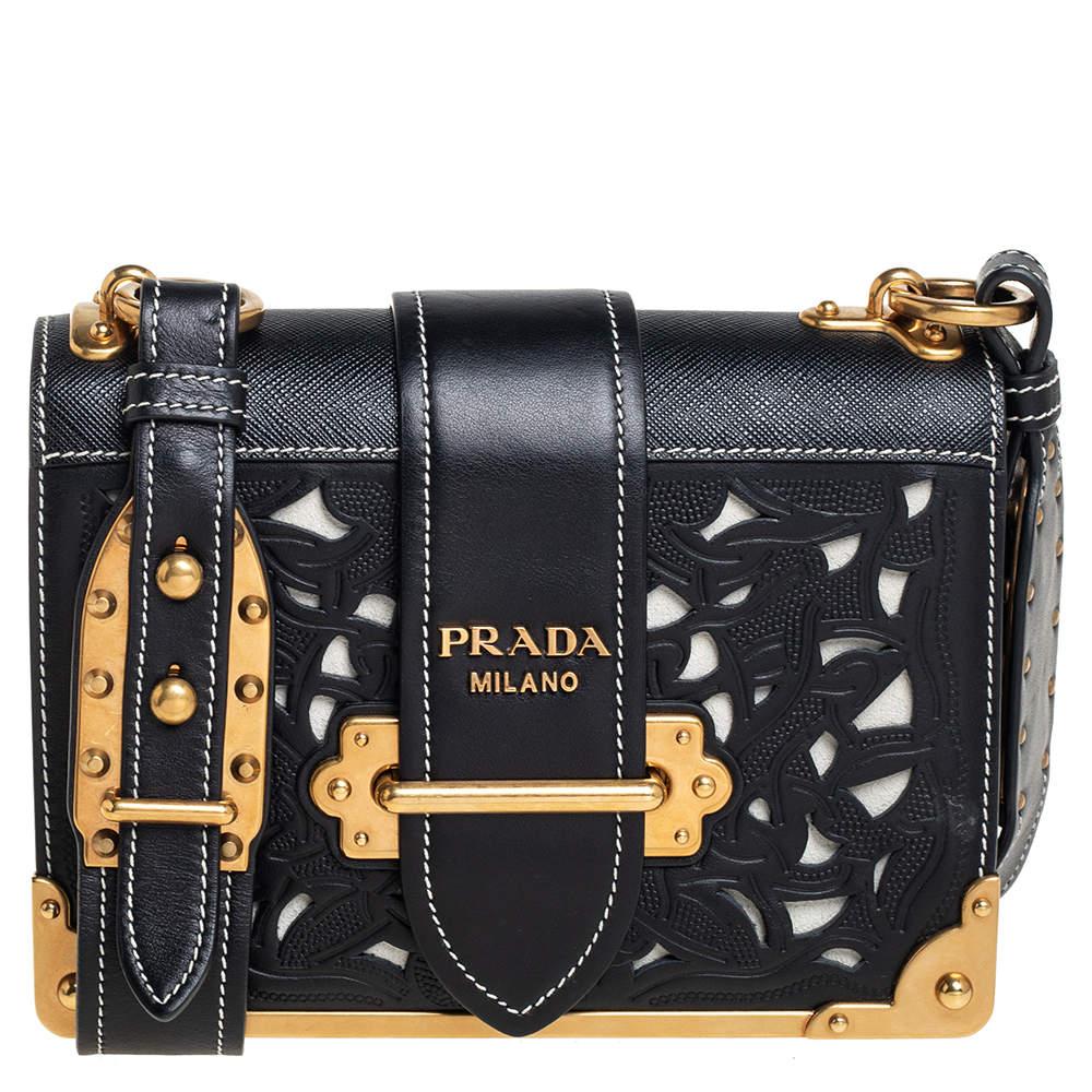Prada Black Leather Laser Cut Cahier Shoulder Bag