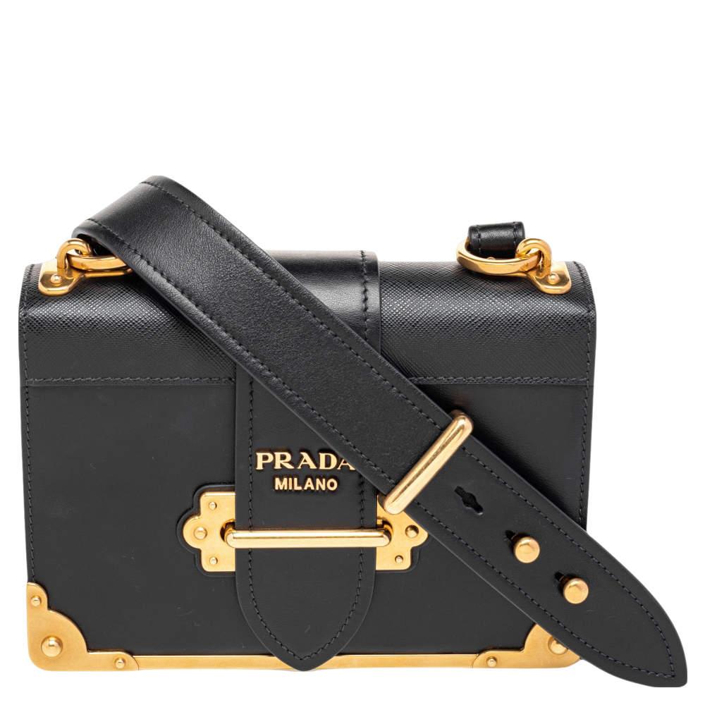 Prada Black Leather Cahier Shoulder Bag