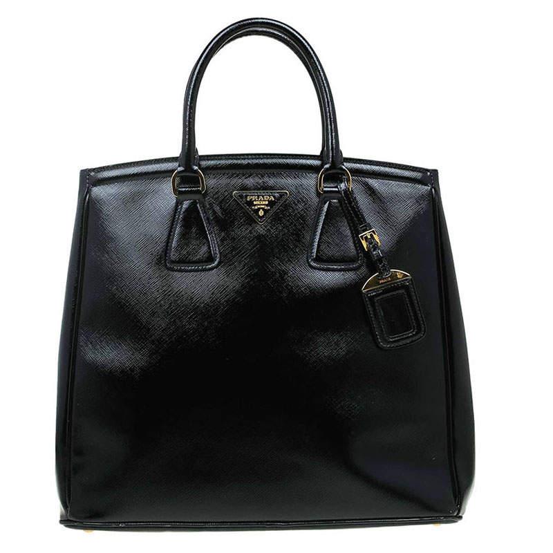 Prada Black Saffiano Lux Leather Parabole Shopping Tote