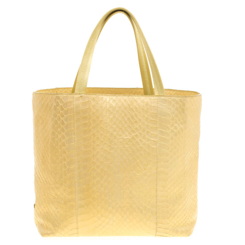 Prada Gold Python Shopping Tote
