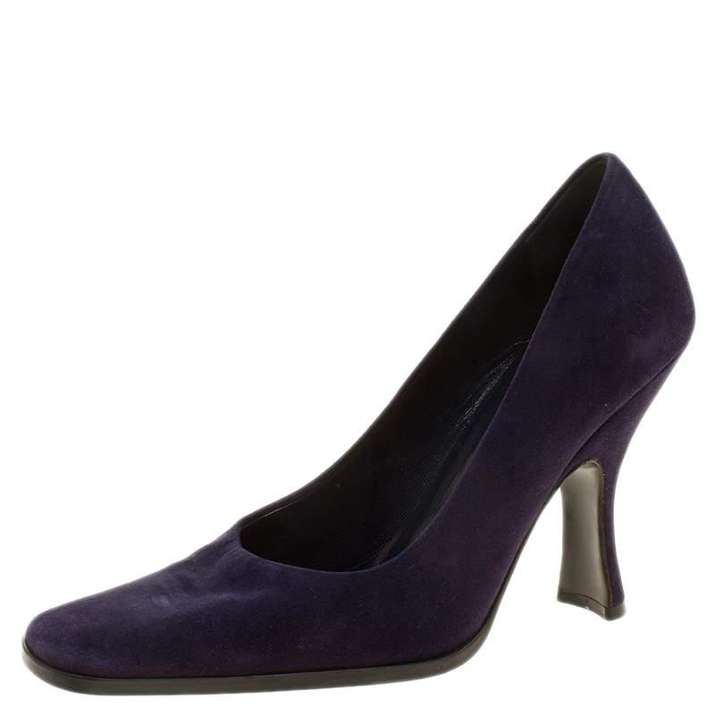 Prada Purple Suede Square Toe Pumps Size 37