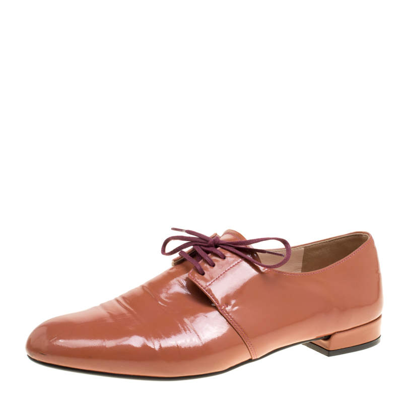 Prada Coral Pink Patent Leather Lace Up Derby Size 38