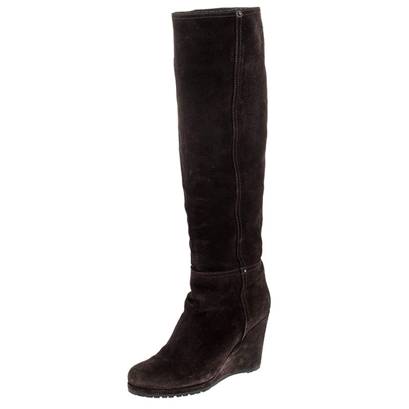 Prada Brown Suede Knee Length Wedge Boots Size 37.5