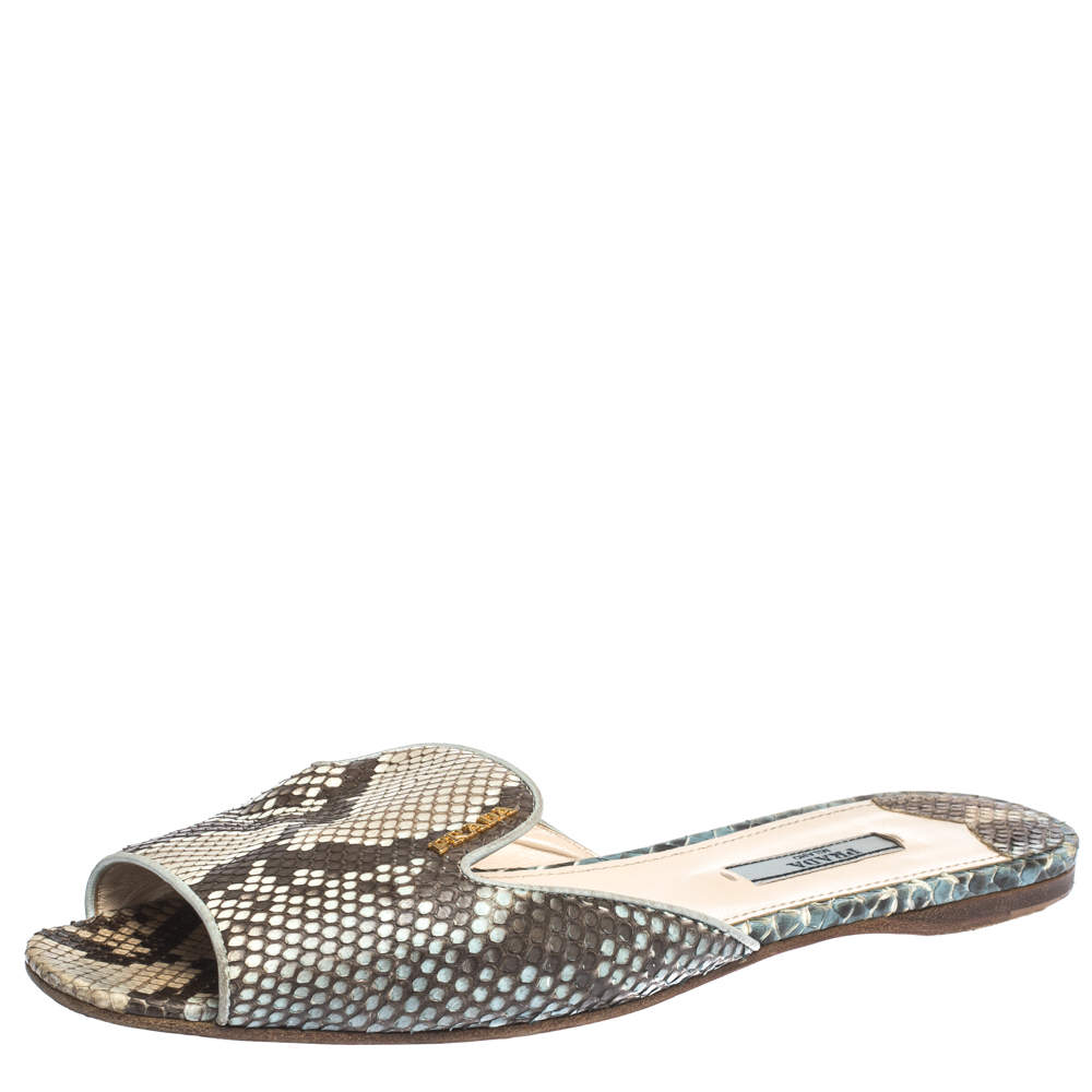 Prada Beige/Brown Python Leather Flat Slides Size 39