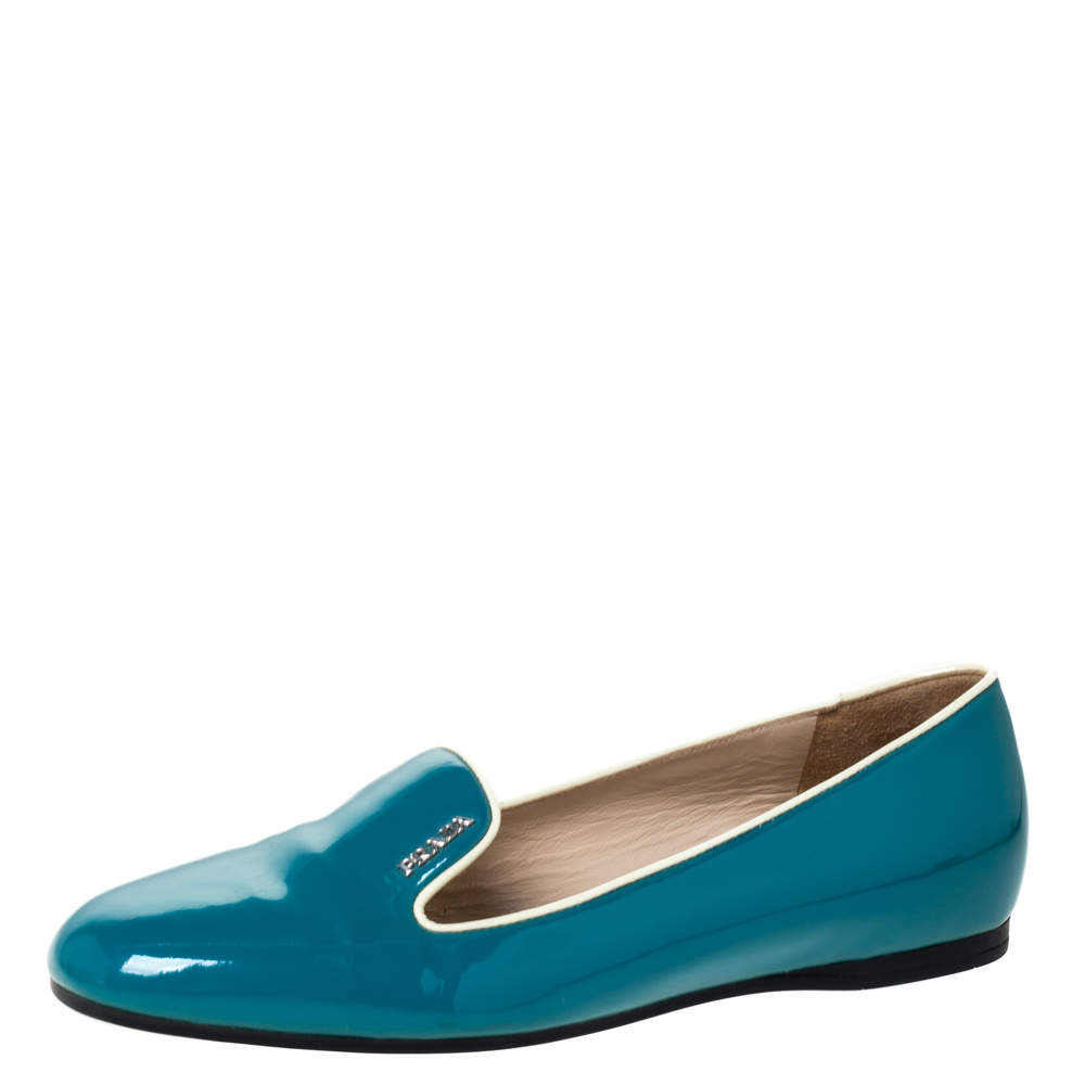 Prada Teal Patent Saffiano Leather Smoking Slippers Size 38
