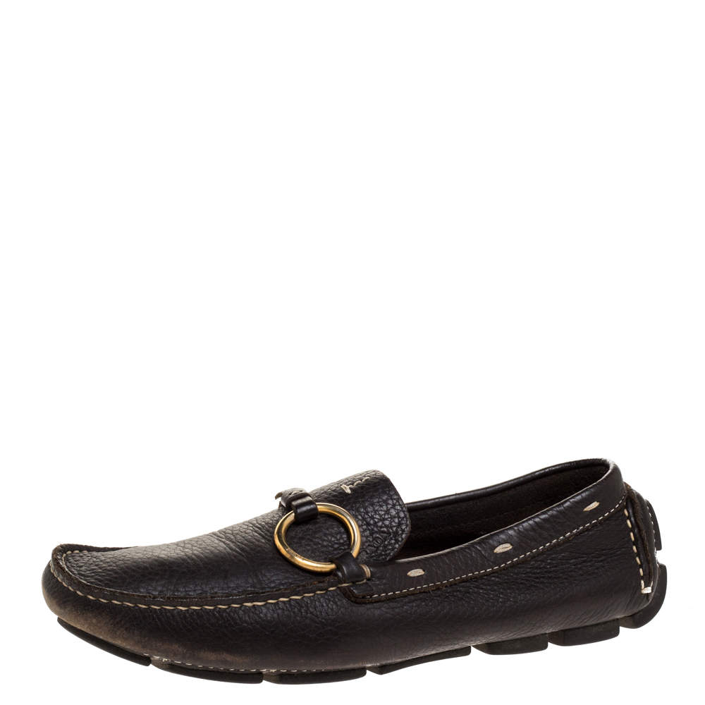 Prada Dark Brown Grained Leather Ring Buckle Loafers Size 35