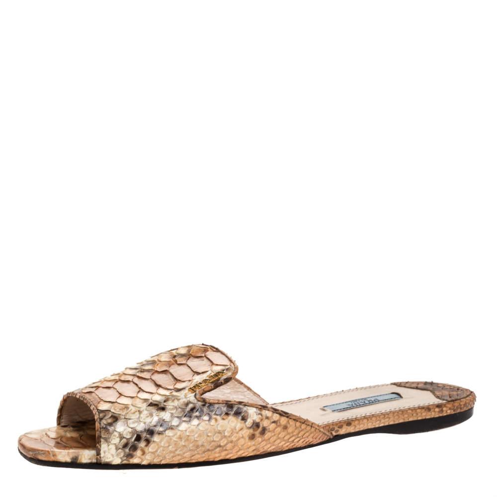 Prada Brown Python Flat Slide Sandals Size 38.5