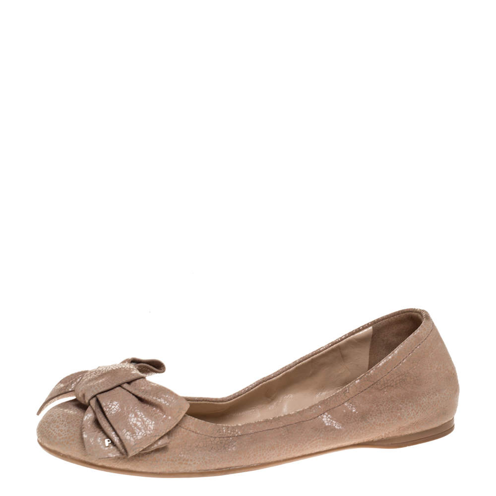Prada Beige Textured Leather Bow Ballet Flats Size 37