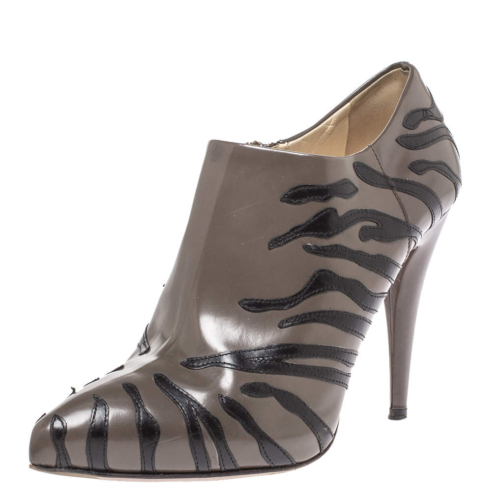 Prada Grey/Black Leather Tiger Stripe Detail Pointed Toe Ankle Booties Size 37