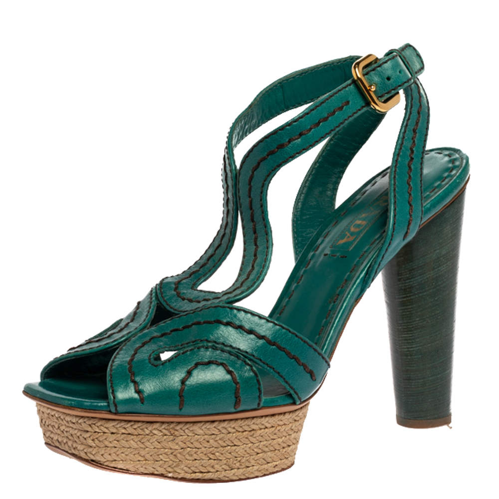 Prada Teal Leather Peep Toe Ankle Strap Platform Sandals Size 39
