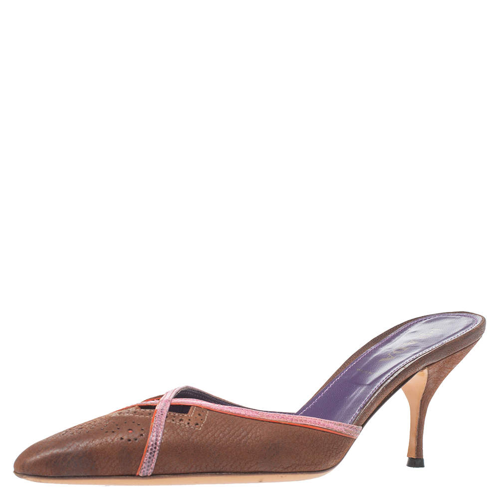 Prada Brown Leather Pointed Toe Slip On Mules Size 37.5