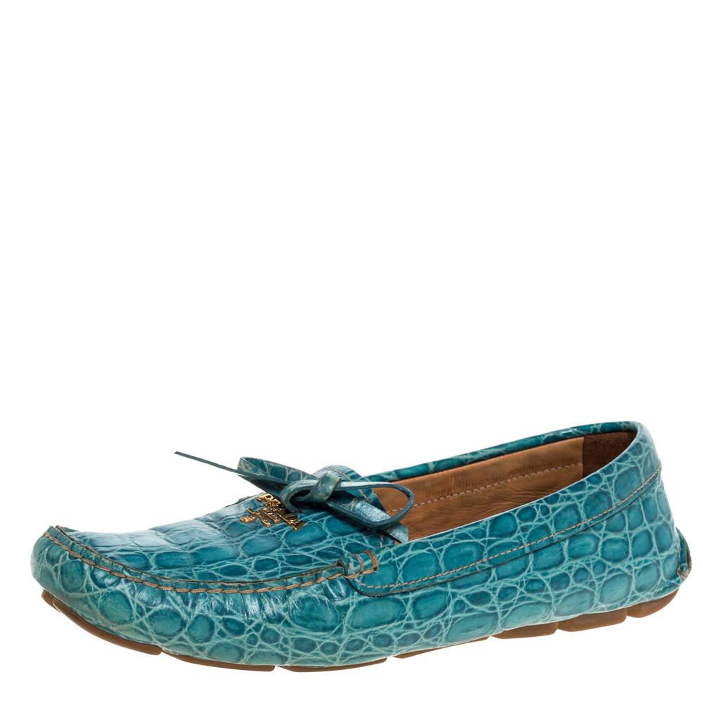 Prada Blue Crocodile Leather Bow Slip On Loafers 39