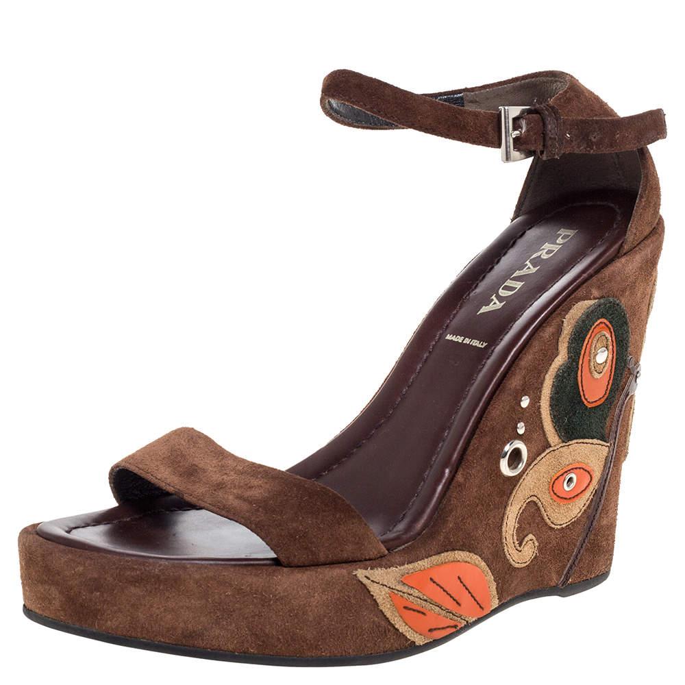 Prada Brown Suede Leather Wedge Platform Ankle Strap Sandals Size 37