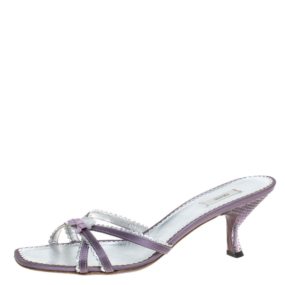 Prada Purple/Silver Leather Scallop Detail Bow Lucite Heel Slide Sandals Size 39