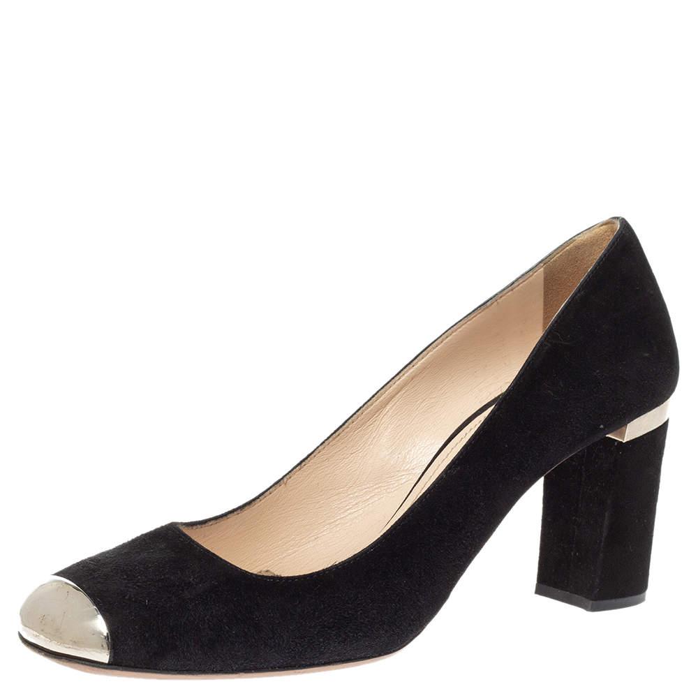 Prada Black Suede Metal Cap Toe Block Heel Pumps Size 36.5