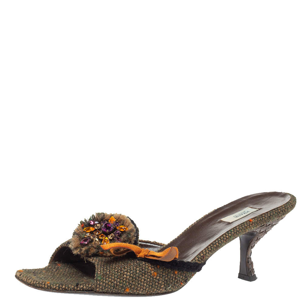 Prada Multicolor Tweed Crystal And Bow Embellished Slide Sandals Size 38.5