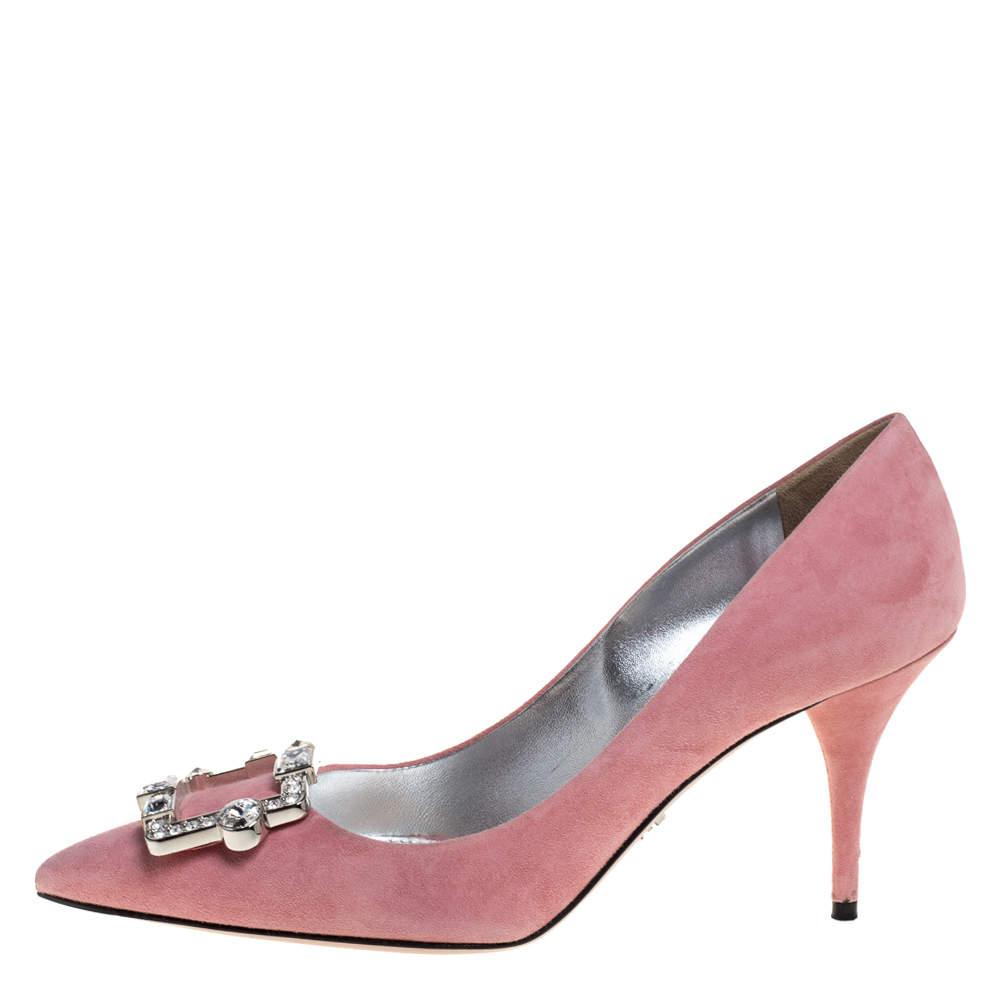 حذاء كعب عالي برادا مزخرف كريستال مقدمة مدببة سويدي وردي مقاس 39