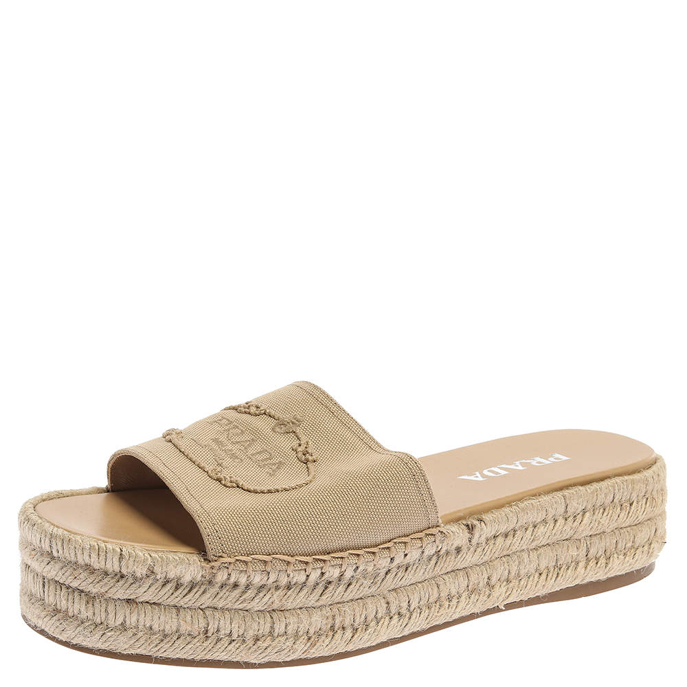 Prada Beige Canvas Logo Embroidered Espadrille Platform Wedge Slides Size 40.5