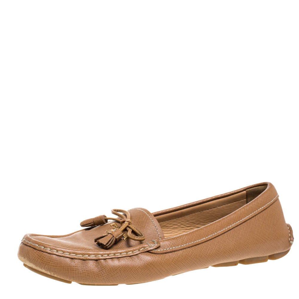 Prada Brown Saffiano Leather Bow Slip On Loafers Size 39.5