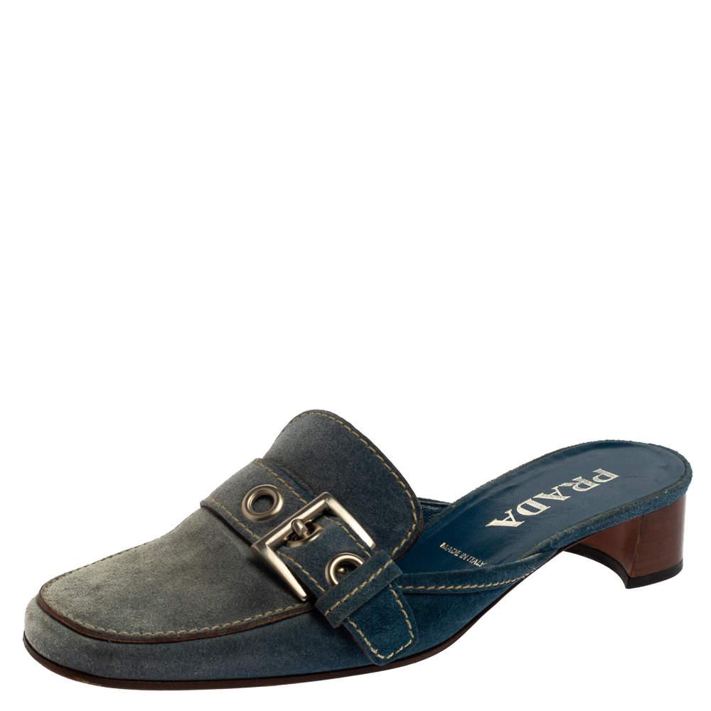Prada Blue Denim Buckle Mule Sandals Size 38.5