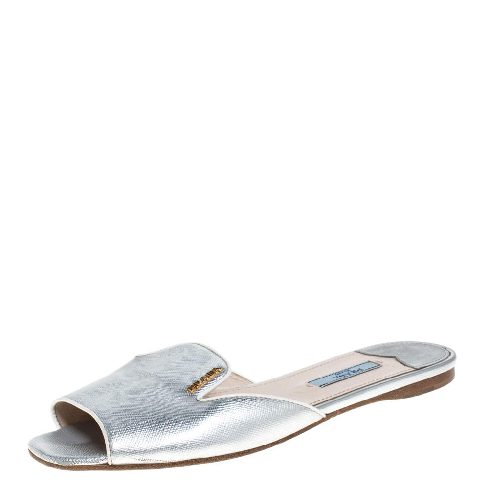 Prada Silver Saffiano Leather Slide Flats Size 37.5