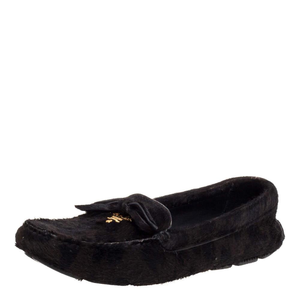 Prada Dark Brown Pony Hair Driving Loafers Size 37.5