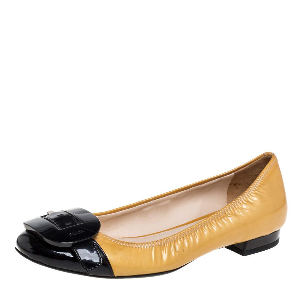 Prada Yellow/Black Patent Leather Bow Embellishment Ballet Flats Size 36.5