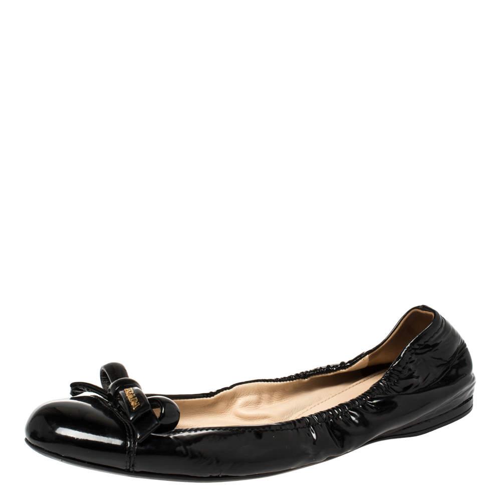 Prada Black Patent Leather Bow Scrunch Ballet Flats Size 41