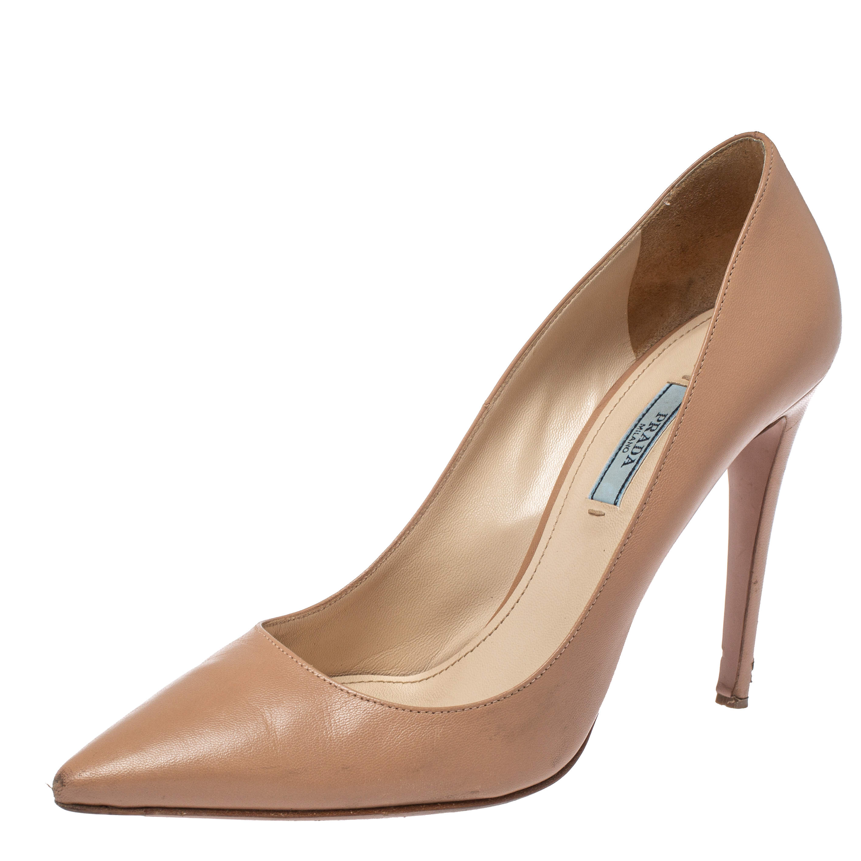 Prada Beige Leather Pointed Toe Pumps Size 39.5