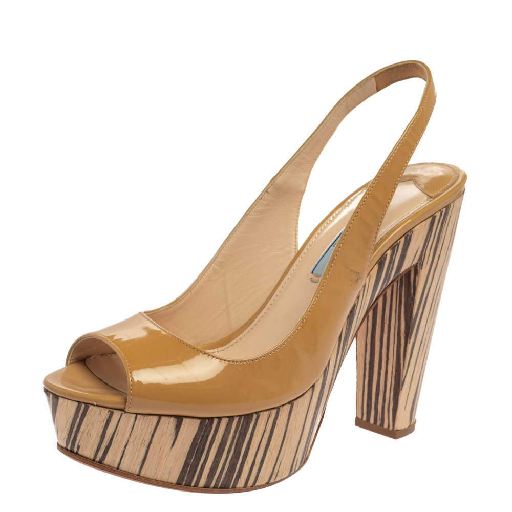 Prada Beige Patent Leather Peep-Toe Platform Sandals Size 39.5