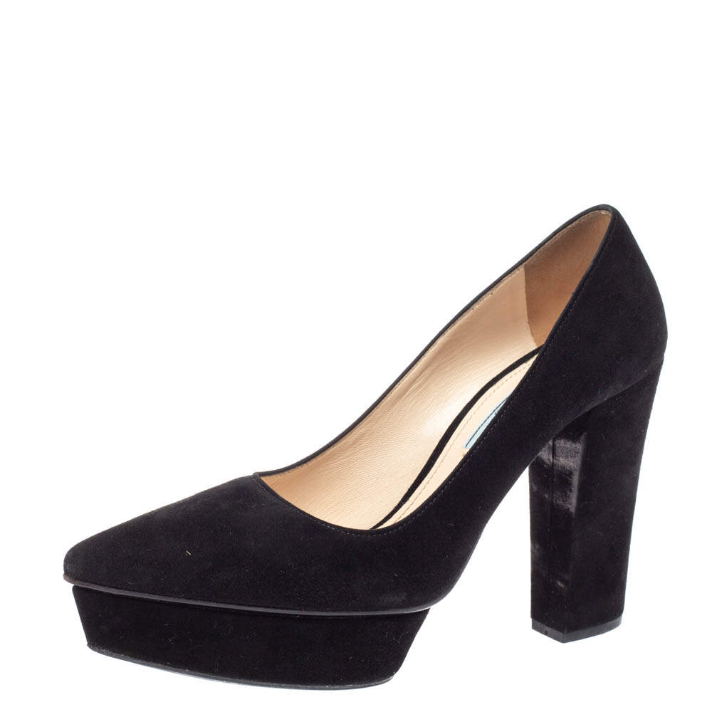 Prada Black Suede Leather Platform Block Heel Pumps Size 38