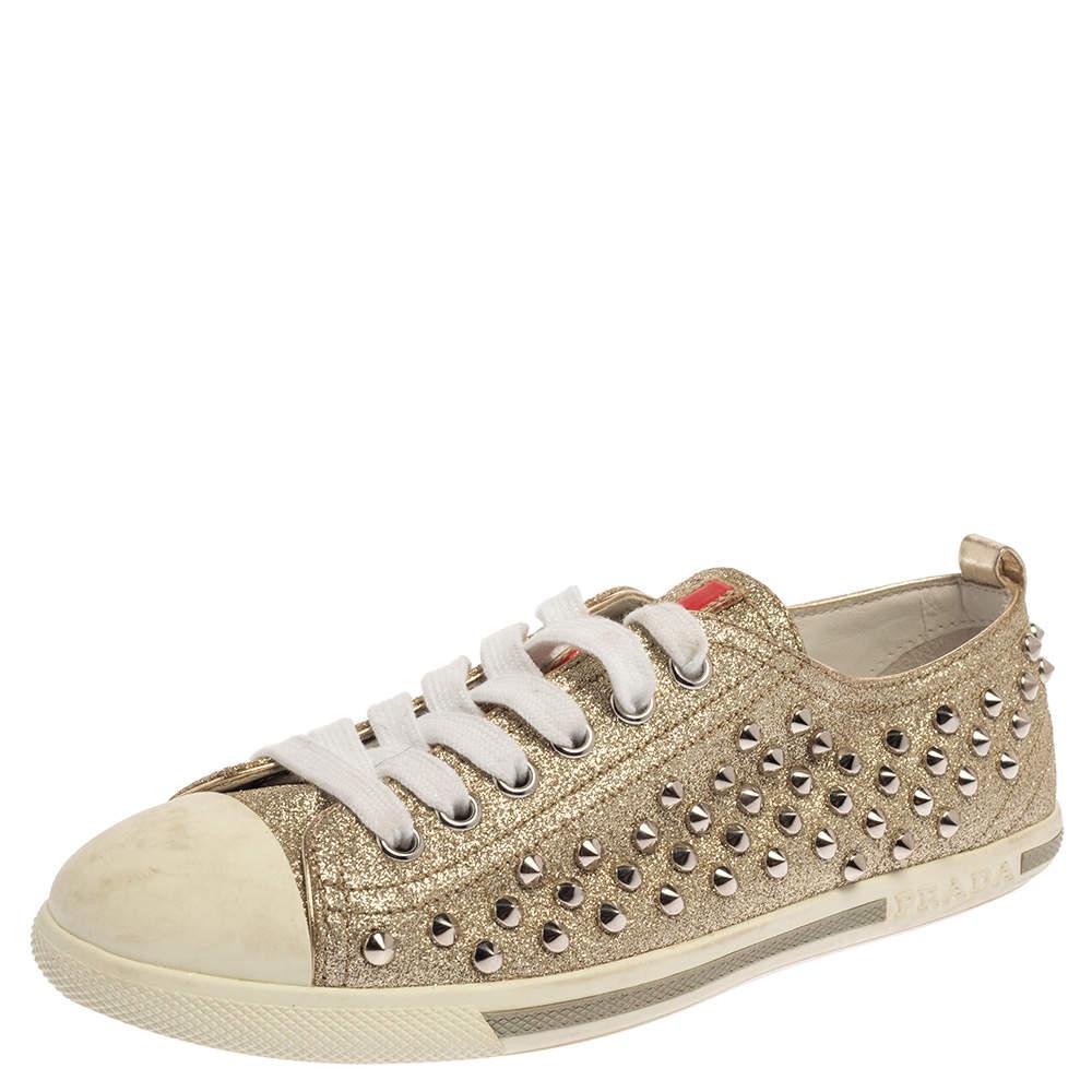 Prada Metallic Silver Glitter Stud Low Top Sneakers Size 35