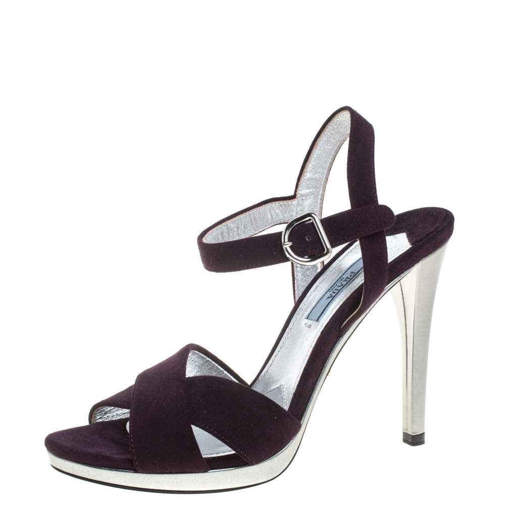 Prada Purple Suede Leather Criss Cross Ankle Strap Sandals Size 38