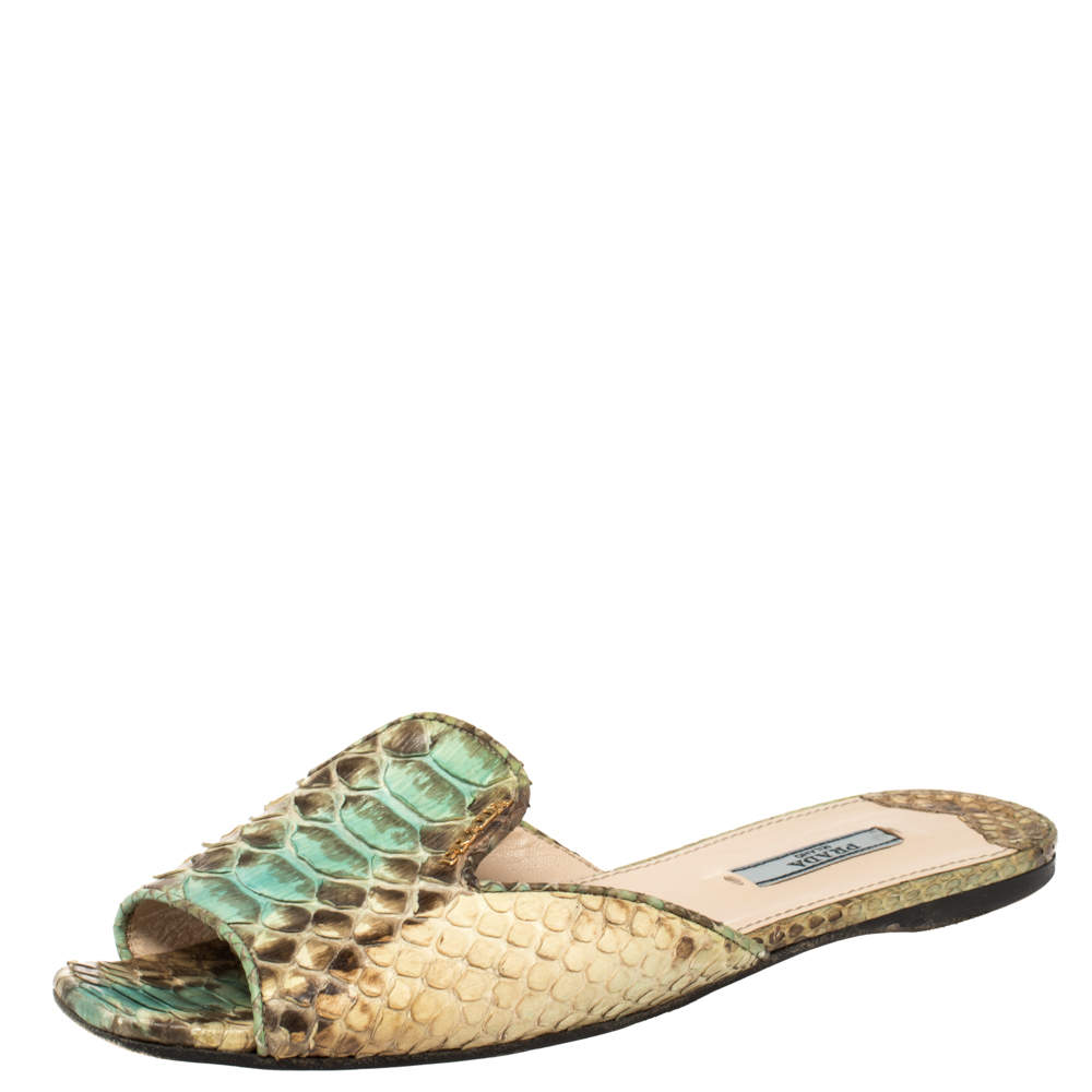 Prada Multicolor Python Leather Flat Slides Size 38.5