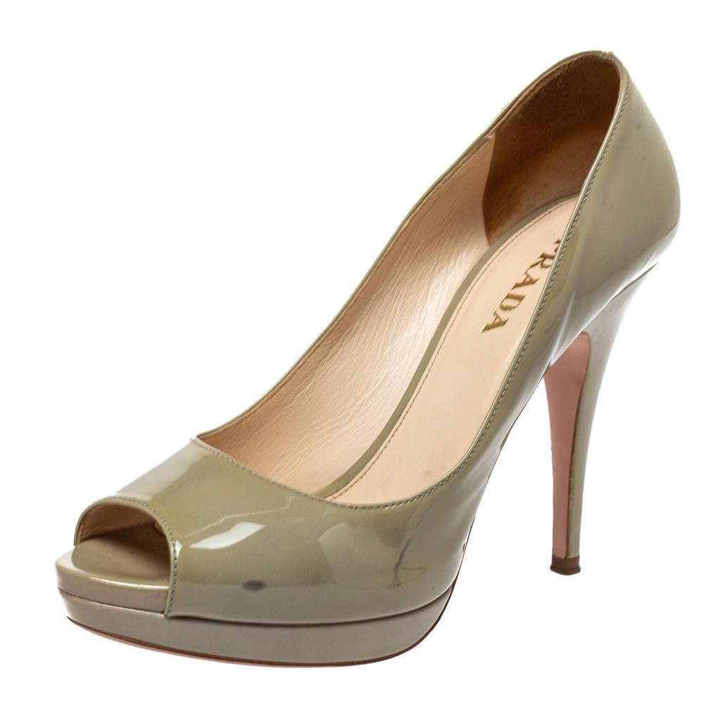 Prada Lime Green Patent Leather Peep Toe Platform Pumps Size 38