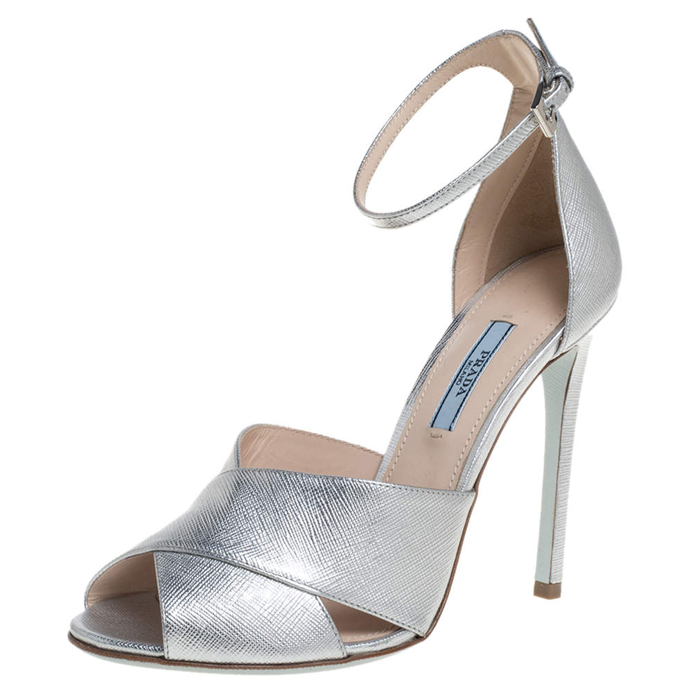 Prada Silver Leather Criss Cross Ankle Strap Sandals Size 38
