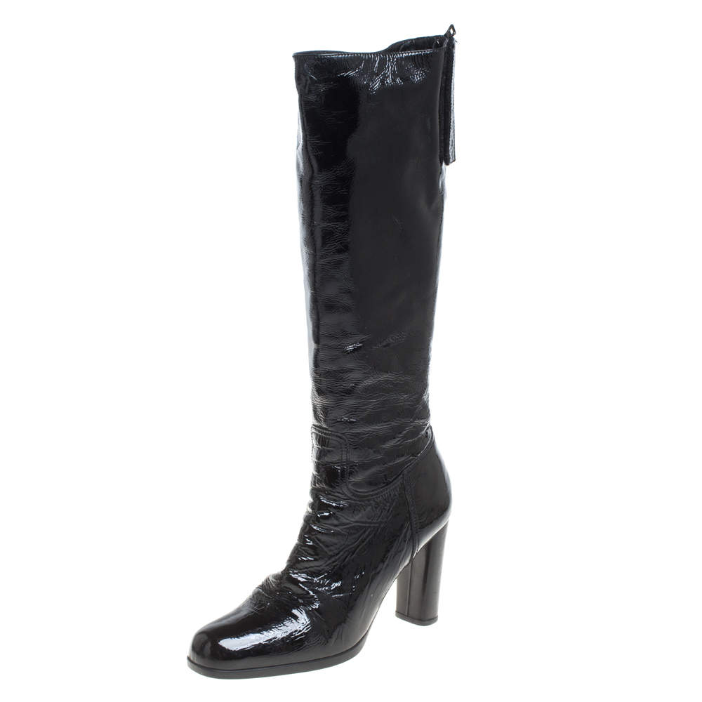 Prada Black Patent Leather Knee Length Boots Size 41
