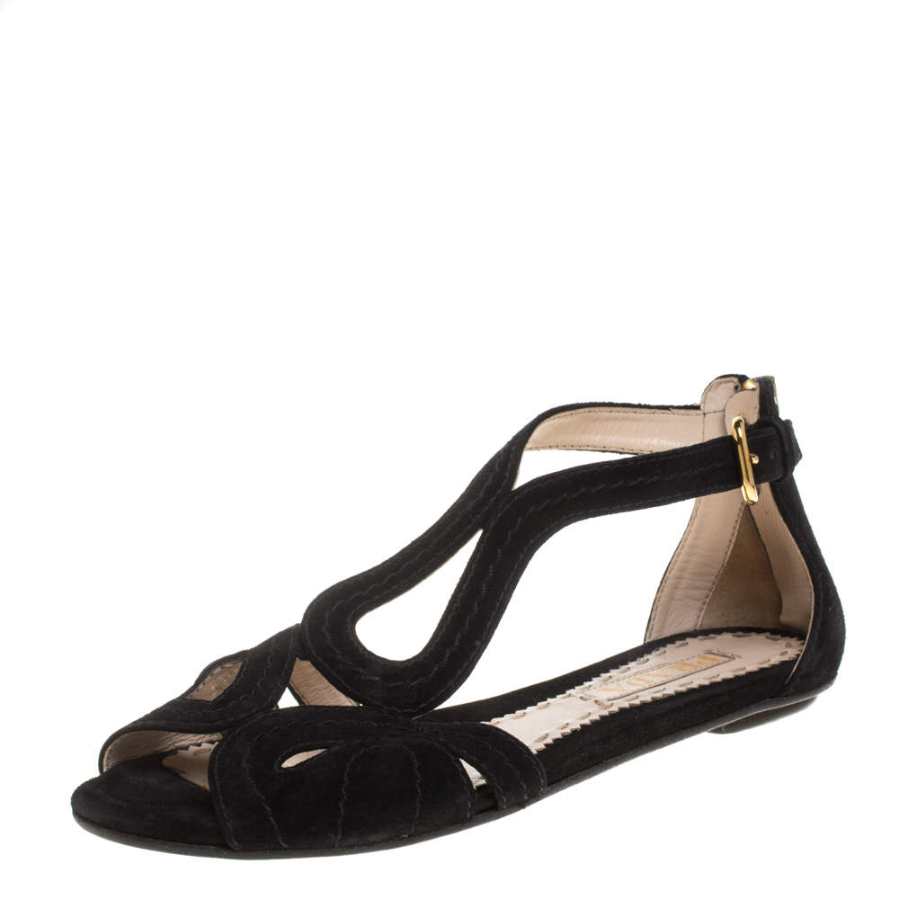 Prada Black Suede Sandals Size 37