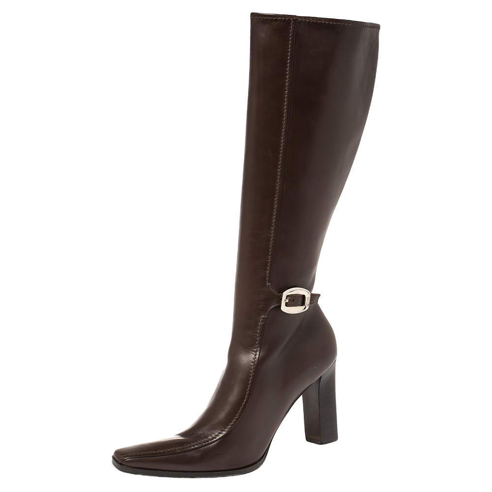 Prada Brown Leather Buckle Detail Knee Length Boots Size 41