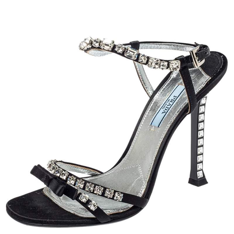 Prada Black Satin Crystal Embellished Bow Sandals Size 38