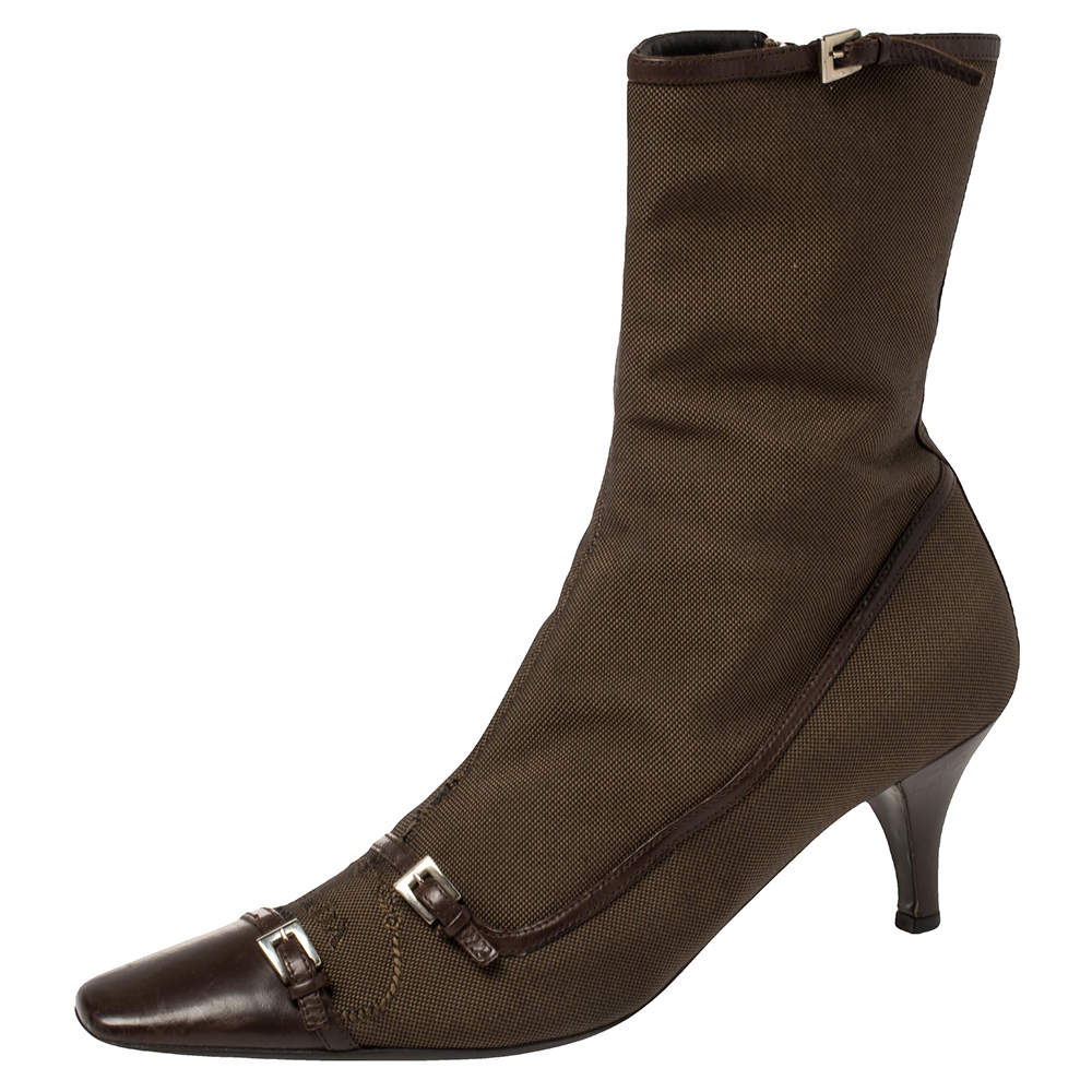 Prada Brown Fabric And Leather Buckle Detail Mid Heel Ankle Boots Size 40