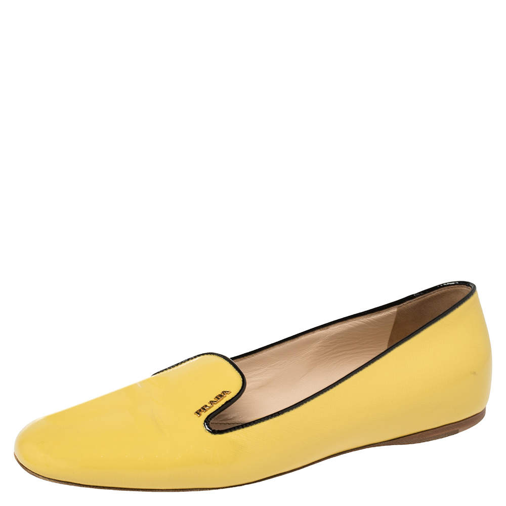 Prada Yellow Patent Leather Smoking Slippers Size 39