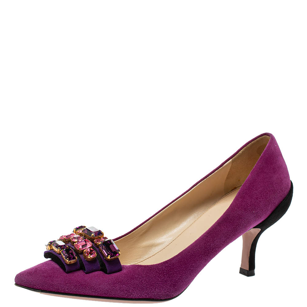 Prada Purple/Black Suede Embellished Pointed Toe Pumps Size 40