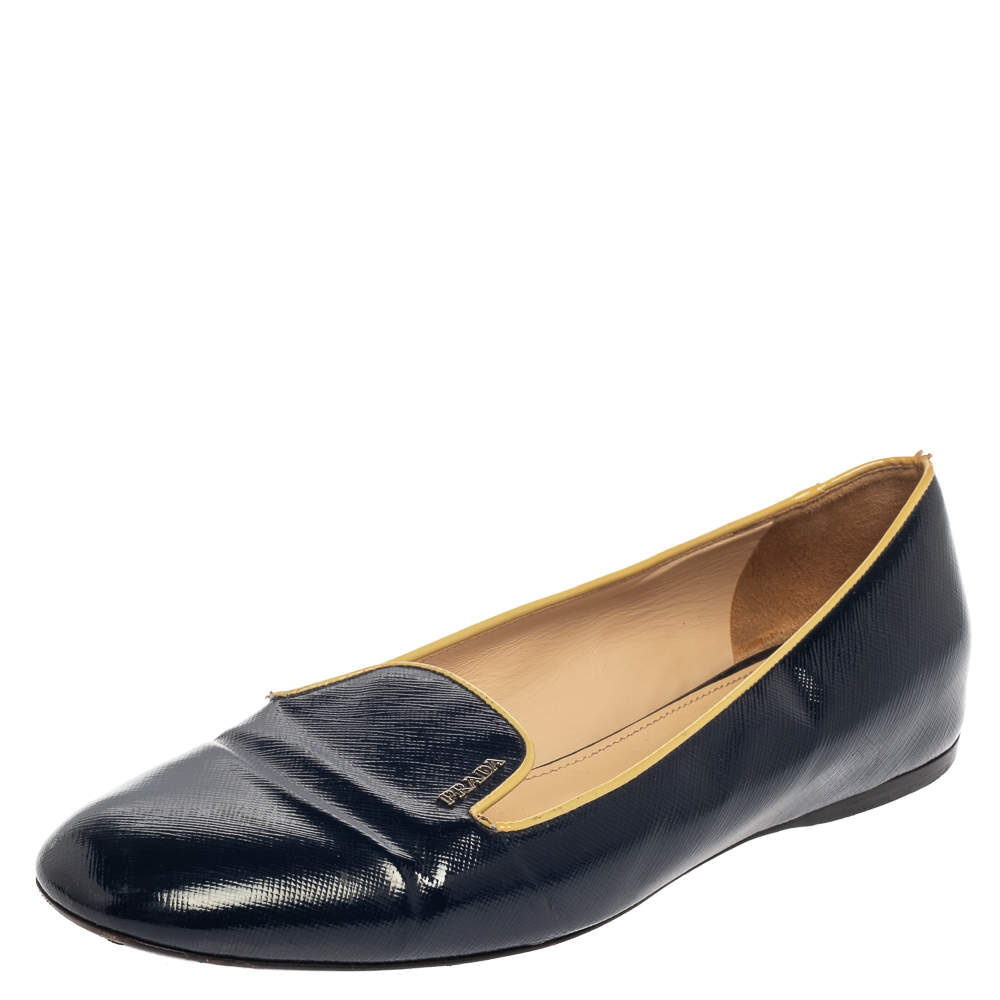 Prada Blue Patent Leather Smoking Slippers Size 39.5