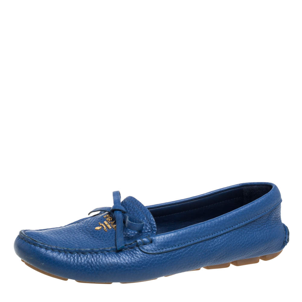 Prada Blue Leather Bow Slip On Loafers Size 37.5