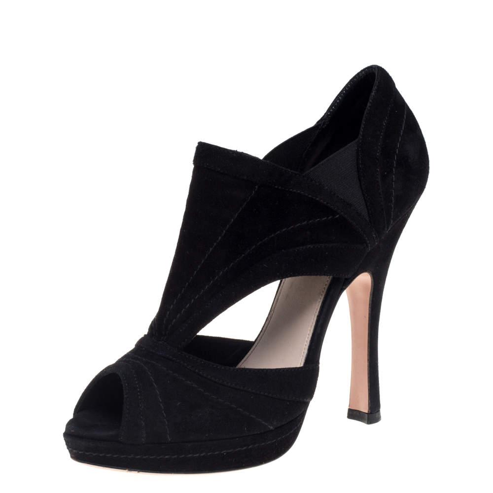 Prada Black Suede Cutout Peep Toe Booties Size 37.5