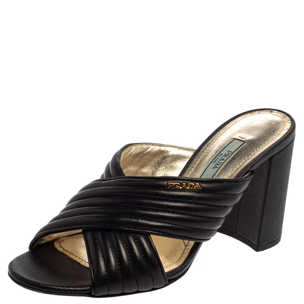Prada Black Leather Criss Cross Block Heel Slide Sandals Size 37