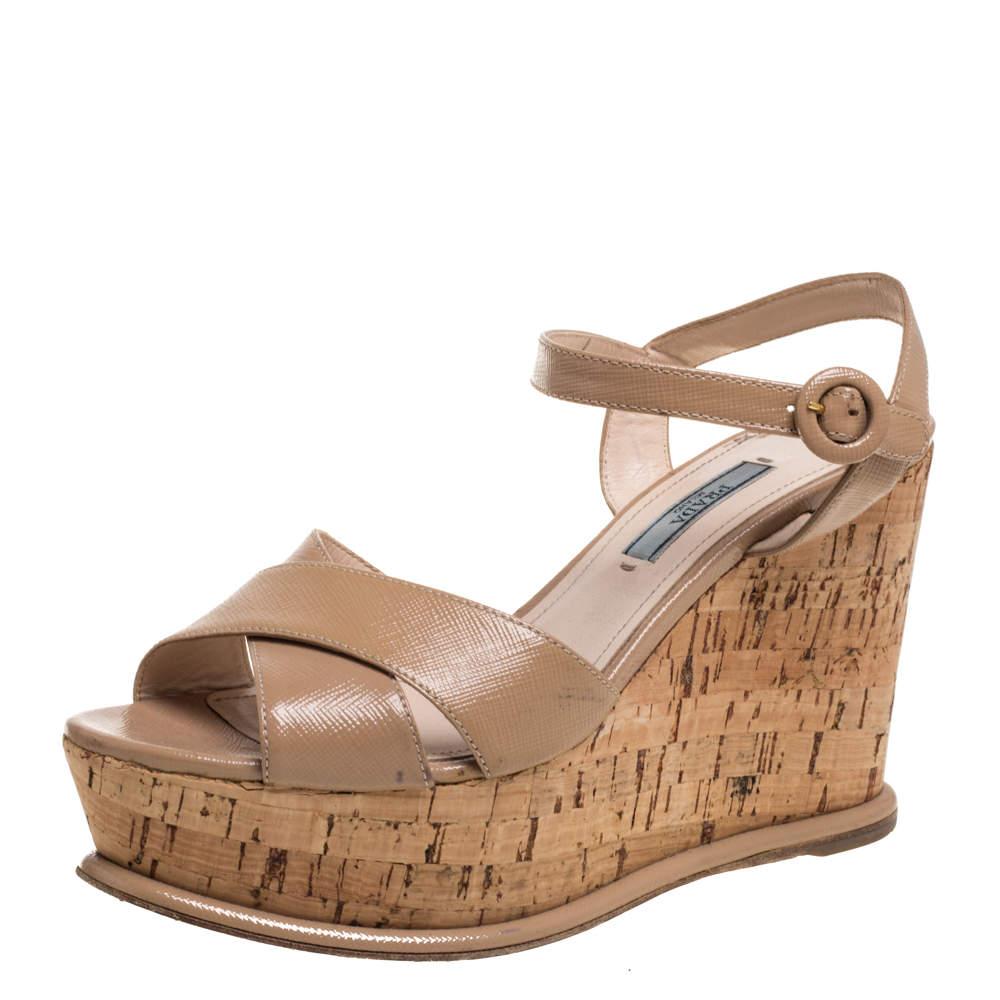 Prada Beige Leather Wedge Platform Sandals Size 38.5