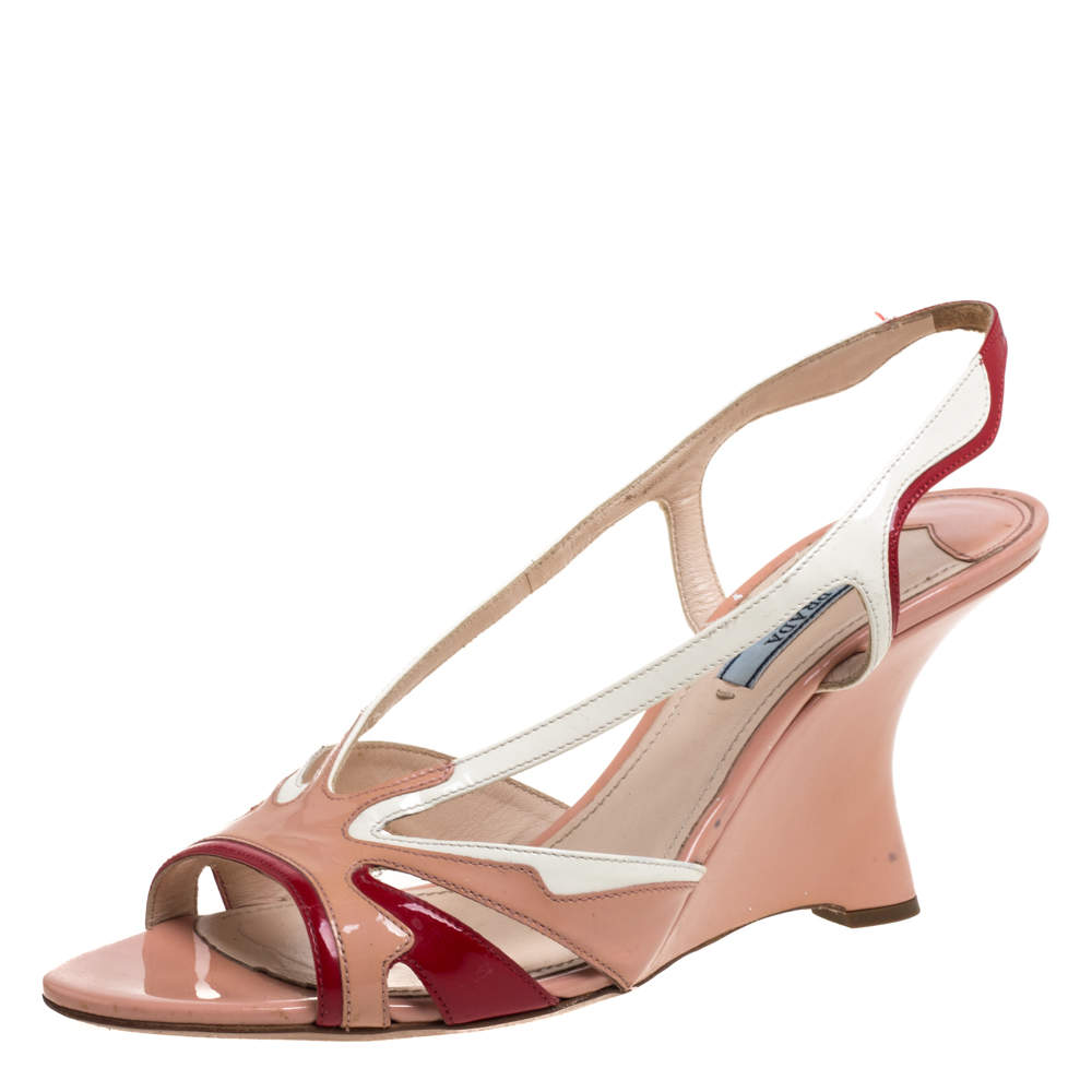Prada Tricolor Patent Leather Wedge Strappy Slingback Sandals Size 41
