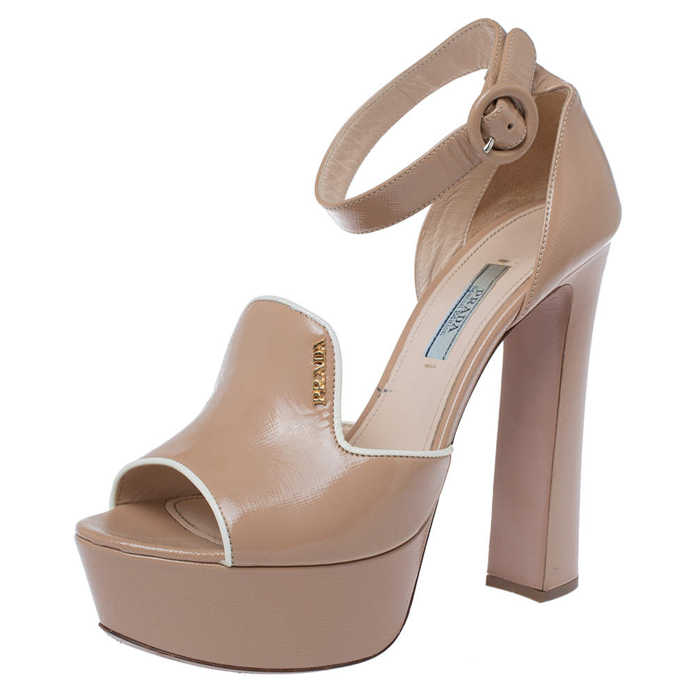 Prada Beige Patent Leather Ankle Strap Block Heel Platform Sandals Size 37